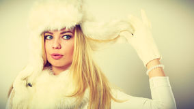 Woman wearing fashionable wintertime clothes Stock Image