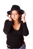Woman wearing fedora Stock Photography