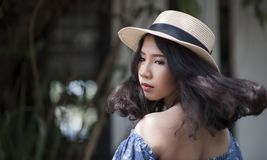 Woman Wearing Fedora Hat and Off-shoulder Top royalty free stock photography