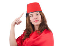 The woman wearing fez hat isolated on white Royalty Free Stock Photos