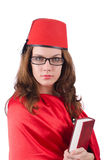 The woman wearing fez hat isolated on white Royalty Free Stock Photo