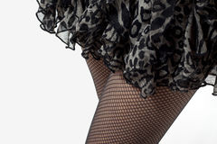 Woman wearing fishnet stockings Royalty Free Stock Images