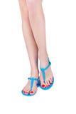Woman wearing flip flop Stock Photos