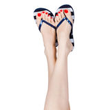 Woman wearing flip flop Royalty Free Stock Images