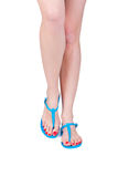 Woman wearing flip flop Stock Image