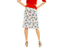 Woman wearing floral skirt and striped sandals fro Royalty Free Stock Photo