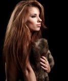 Woman wearing fur Royalty Free Stock Image
