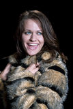 Woman wearing fur coat Royalty Free Stock Image
