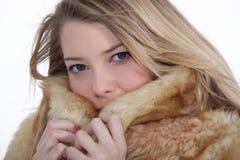 Woman wearing a fur coat Stock Photo