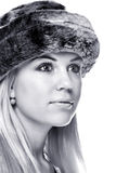 Woman wearing a fur hat Stock Photo