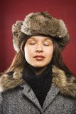 Woman wearing fur hat. Royalty Free Stock Photography