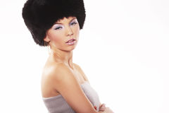 Woman Wearing Fur Hat Stock Photo