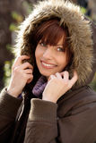 Woman wearing fur hood Royalty Free Stock Images