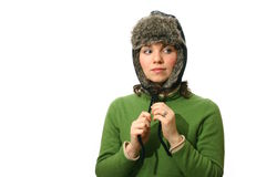 Woman wearing fur lined hat Royalty Free Stock Photo
