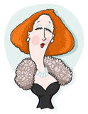 Woman wearing fur and pearls illustration Royalty Free Stock Images