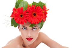 Woman wearing a gerbera wreath Royalty Free Stock Image