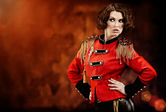 Woman wearing glamour uniform Stock Images