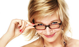 Woman Wearing Glasses. Ower white background Royalty Free Stock Images
