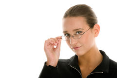 Woman wearing glasses Stock Images
