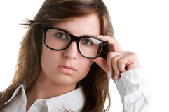 Woman Wearing Glasses. Isolated in a white background Stock Images