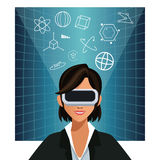 Woman wearing glasses augmented reality 3d background Royalty Free Stock Images