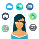 Woman wearing glasses augmented reality. Flat icon Stock Image