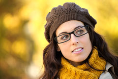 Woman wearing glasses autumn portrait Stock Photo