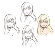 Woman Wearing Glasses. Beautiful woman wearing different glasses styles Stock Photo