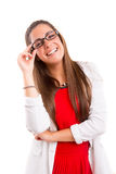 Woman wearing glasses. Beautiful young woman wearing glasses, isolated over copy space background royalty free stock photo