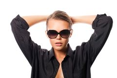 Woman wearing glasses and black shirt Royalty Free Stock Photos
