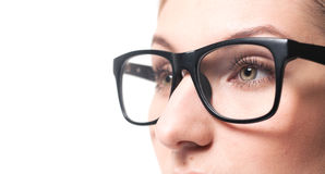 Woman wearing glasses close-up Royalty Free Stock Images