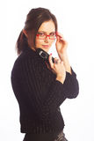 Woman Wearing Glasses over white background Royalty Free Stock Photo
