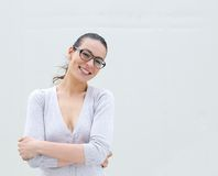 Woman wearing glasses smiling Stock Photo
