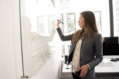 Woman Wearing Gray Blazer Writing on Dry-erase Board Stock Images