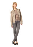 Woman wearing gray jacket isolated on white background Stock Images