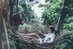 Woman Wearing Gray Long-sleeved Shirt on Nest Hammock in Selective Focus Photography stock image
