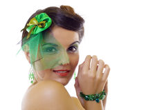 Woman wearing a green brooch Stock Image