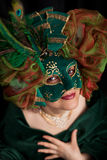 Woman wearing a green carnival  mask Royalty Free Stock Photos
