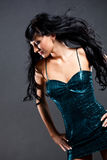 Woman wearing green dress royalty free stock image