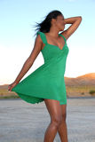 Woman wearing green dress. Stock Photo