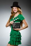 Woman wearing green dress Royalty Free Stock Photos