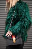 Woman Wearing Green Fur Jacket stock photography