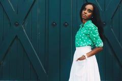 Woman Wearing Green Polka-dot Long-sleeved Dress Royalty Free Stock Photo