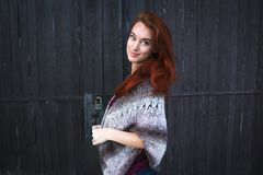 Woman Wearing Grey Printed Poncho Posing for Photo Royalty Free Stock Images