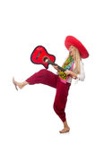 Woman wearing guitar with sombrero Stock Photo