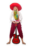 Woman wearing guitar with sombrero Stock Image