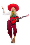 Woman wearing guitar with sombrero Royalty Free Stock Photos