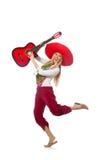 Woman wearing guitar with sombrero Stock Photos