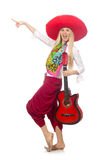 Woman wearing guitar with sombrero Royalty Free Stock Photography