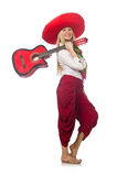 The woman wearing guitar with sombrero Royalty Free Stock Photos